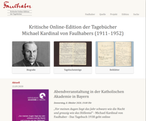 Screenshot Critical online edition of the diaries of Michael Cardinal von Faulhaber