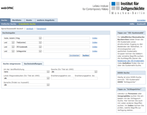 Screenshots Online Catalog of the IfZ-Library